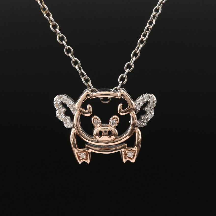 Stering Silver and 14K Rose Gold Diamond Flying Pig Necklace