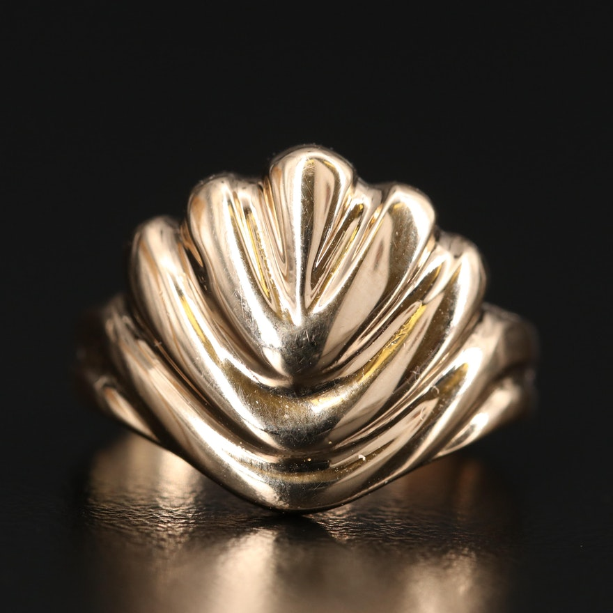 14K Fluted Ring