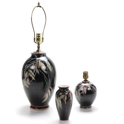 Gary Ba Han for Santa Barbara Ceramic Design Table Lamps and Vase, 1983