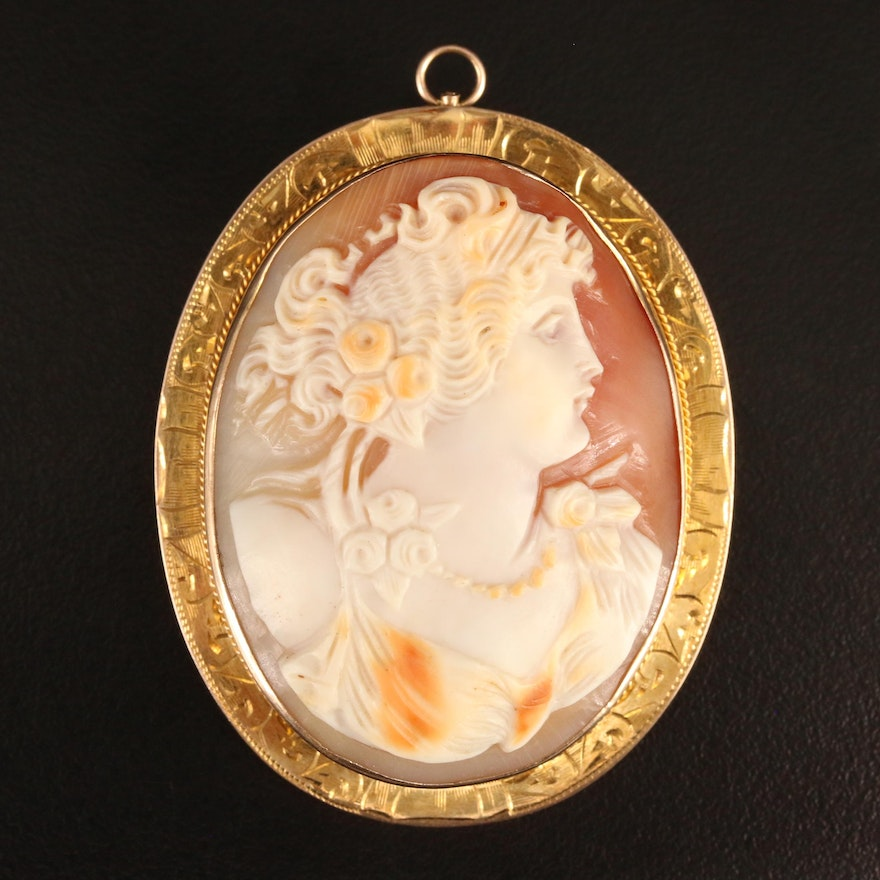 Antique E.L. Spencer Co. 10K Cameo Shell Converter Brooch