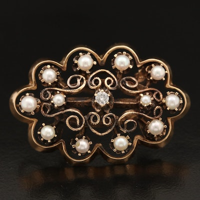 1930s 14K Diamond and Seed Pearl Brooch