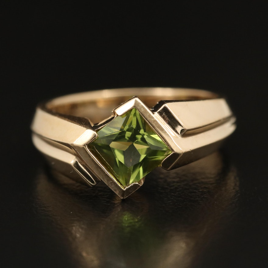 14K Peridot Knife Edge Ring