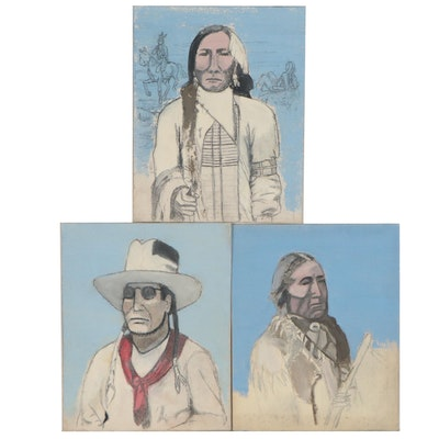 Native American Portrait Oil and Graphite Studies, circa 1965