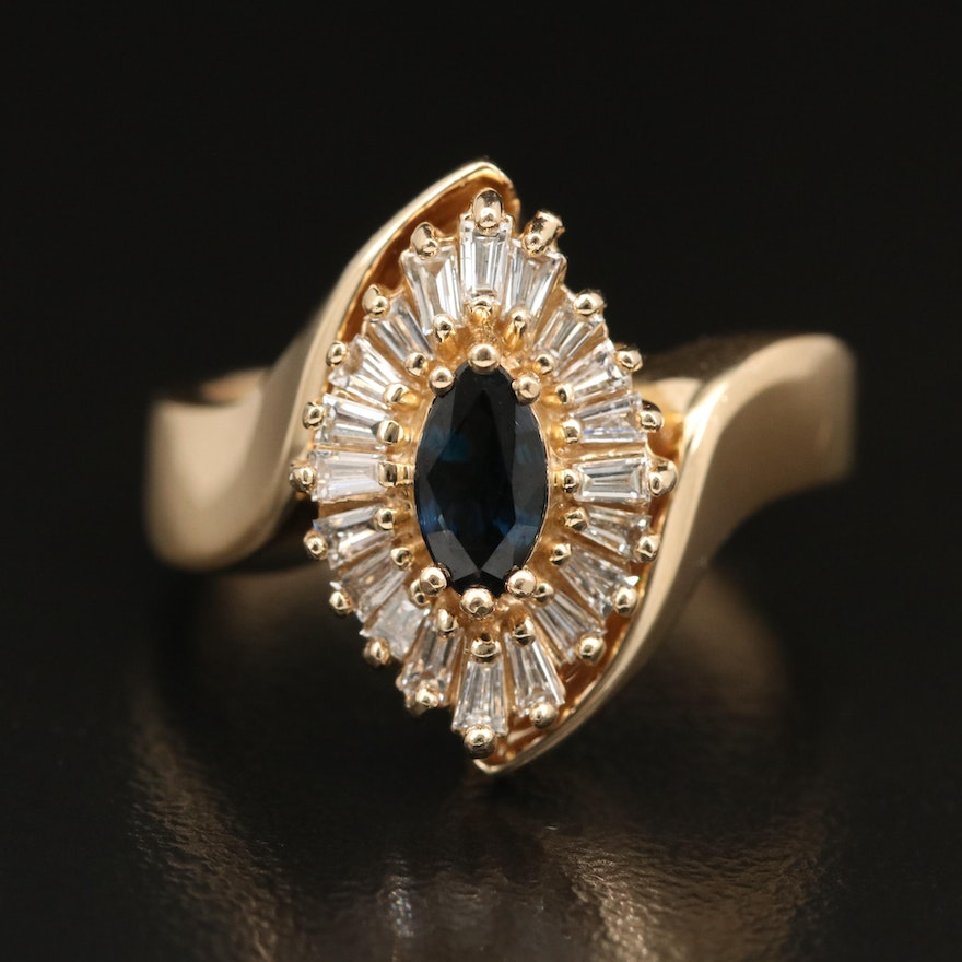 14K Sapphire and Diamond Bypass Navette Ring