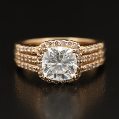 14K Moissanite and Diamond Ring