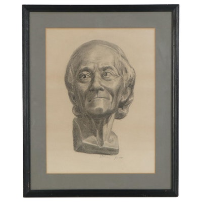 Charcoal Drawing of a Bust of Voltaire, 1948