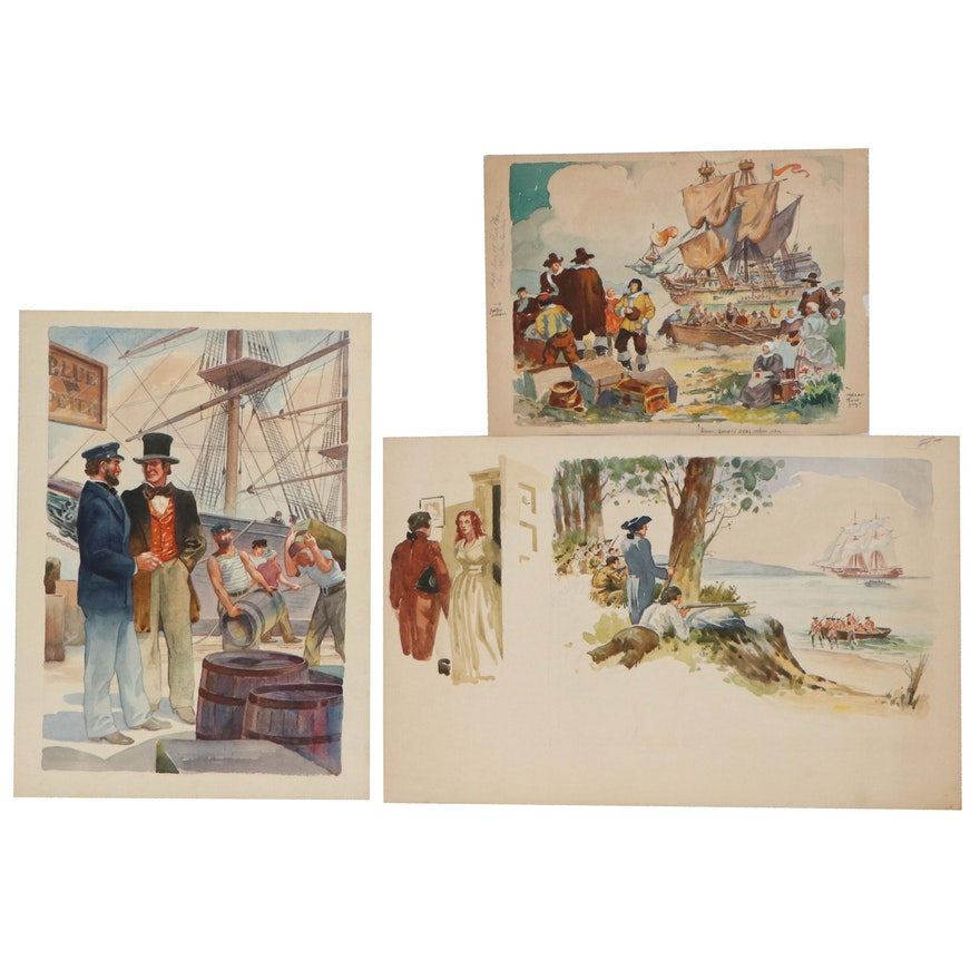 Watercolor Illustrations Attributed to Frederick Elmiger, Mid-20th Century