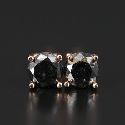 14K 0.66 CTW Black Diamond Stud Earrings