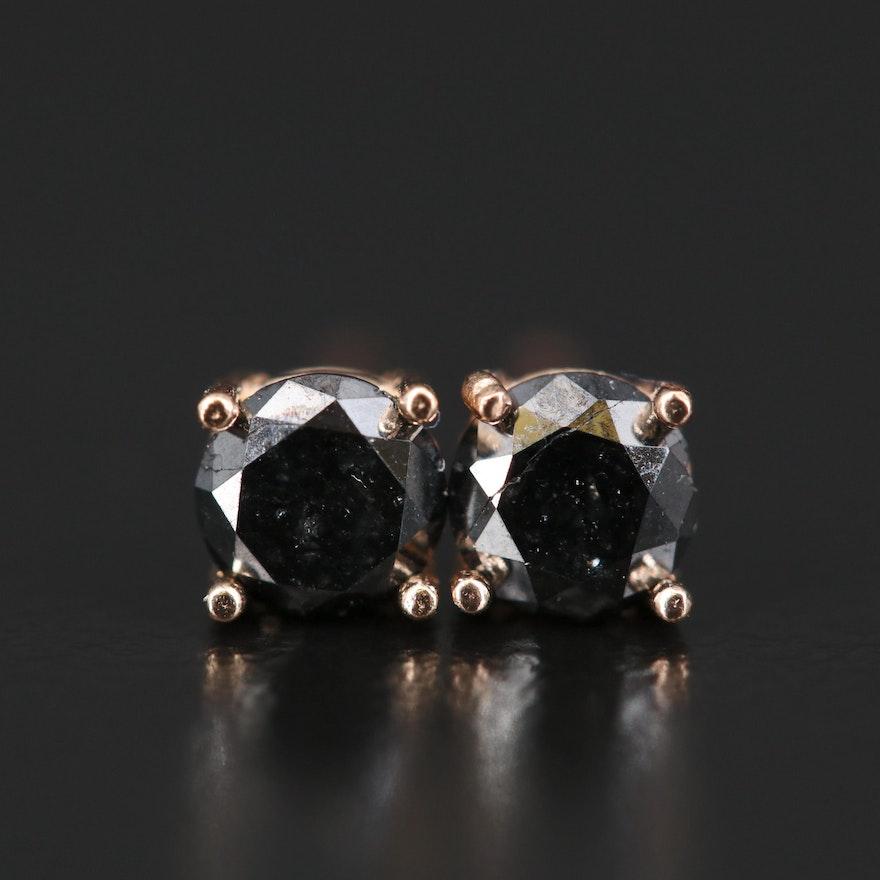 14K 0.66 CTW Black Diamond Stud Earrings