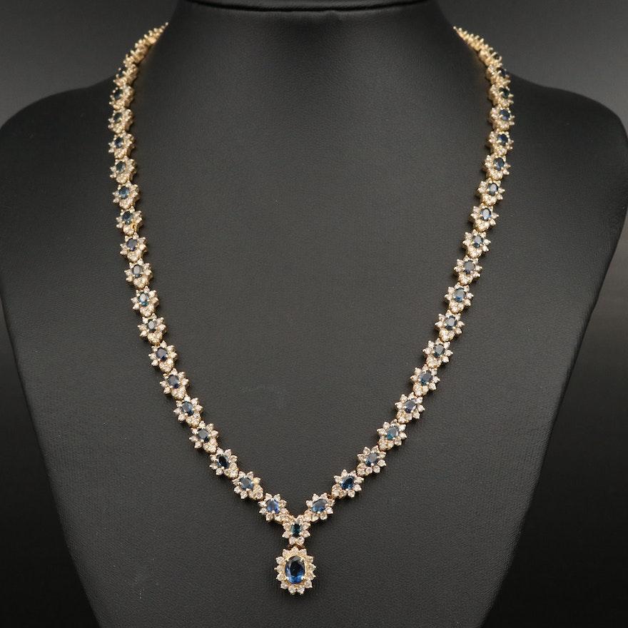 14K 1.00 CT Sapphire and 10.46 CTW Diamond Necklace
