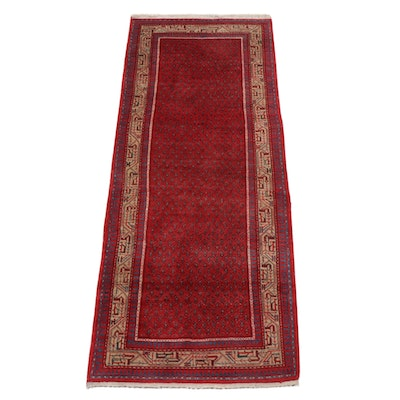 3'6 x 8'11 Hand-Knotted Persian Mir Sarouk Long Rug, 1970s