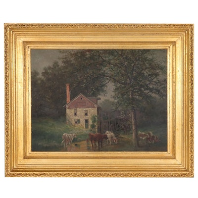 Charles Boizard Pastoral Landscape Oil Painting of Watermill with Cows