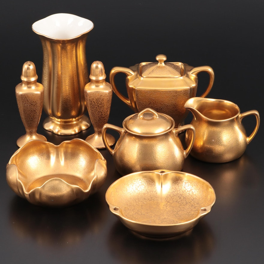 Pickard and Other Gold Encrusted Porcelain Tableware, Mid-20th Century