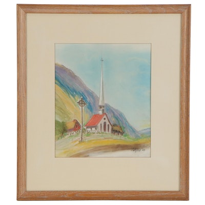 Pastel Drawing of a Church Landscape, 1999