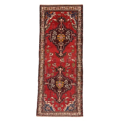 3'8 x 9'6 Hand-Knotted Persian Zanjan Pictorial Long Rug, 1970s
