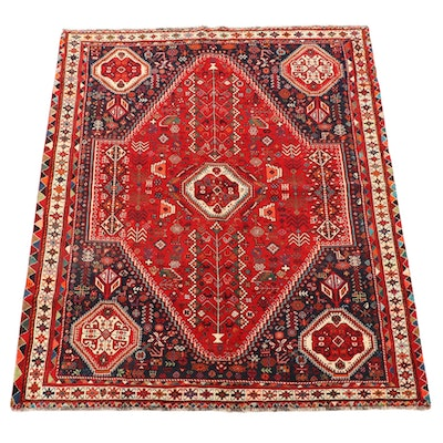 6'3 x 7'11 Hand-Knotted Persian Abadeh Wool Area Rug