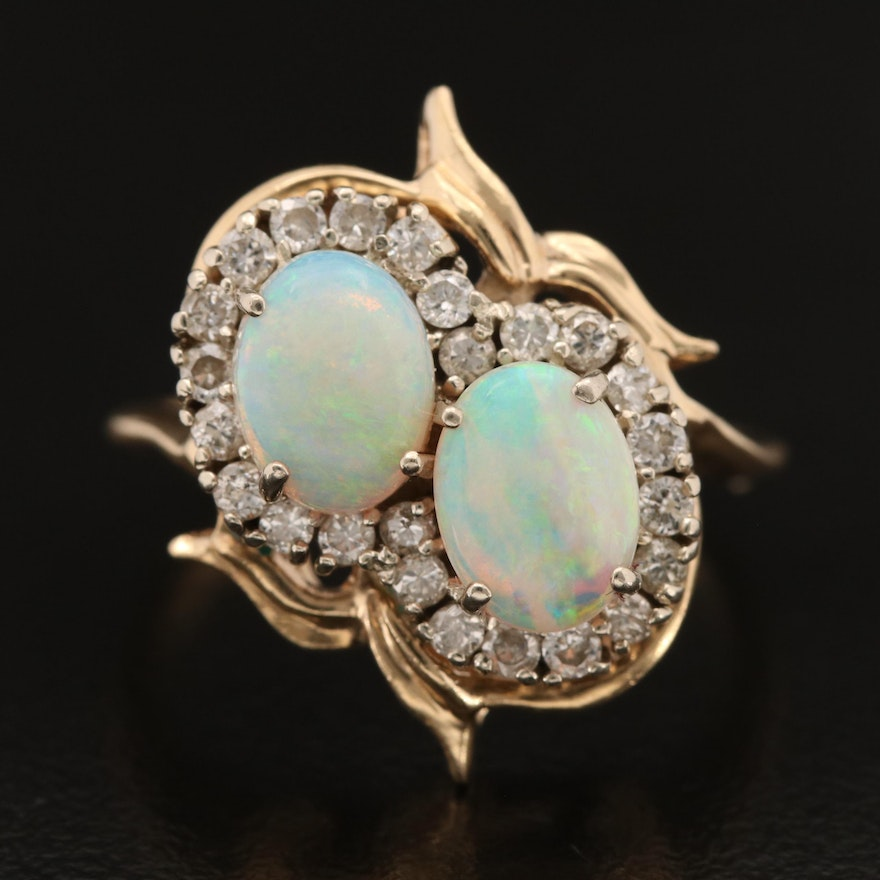 14K Opal and Diamond Bypass Style Ring