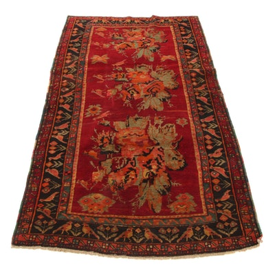 4'4 x 7'10 Hand-Knotted Caucasian Karabagh Pictorial Area Rug, 1920s