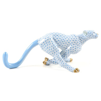 "Herend Blue Fishnet with Gold ""Large Cheetah"" Porcelain Figurine, 2000"