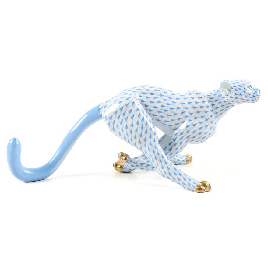 """Herend Blue Fishnet with Gold """"Large Cheetah"""" Porcelain Figurine, 2000"""