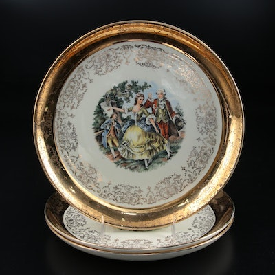 "Three Sabin Crest-O-Gold ""Colonial Couple"" Transferware Plates with 22K Rim"