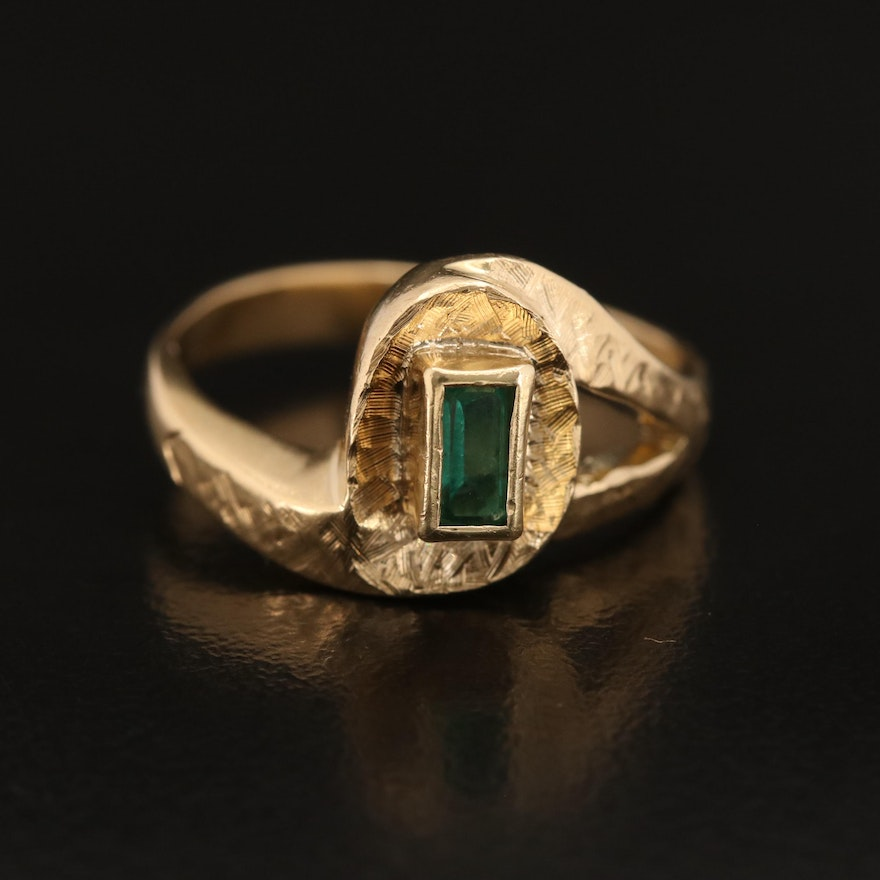18K Emerald Bypass Style Ring with Textured Finish Details