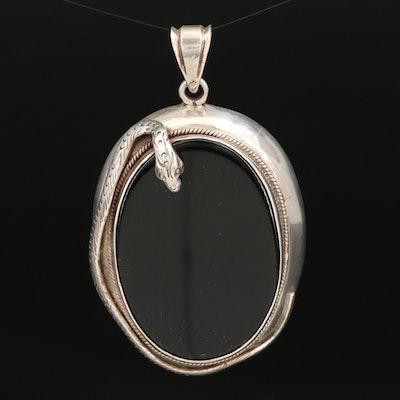 Sterling Black Onyx Snake Wrapped Pendant