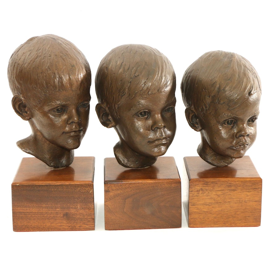 Barney Bright Bronze Busts of Three Boys