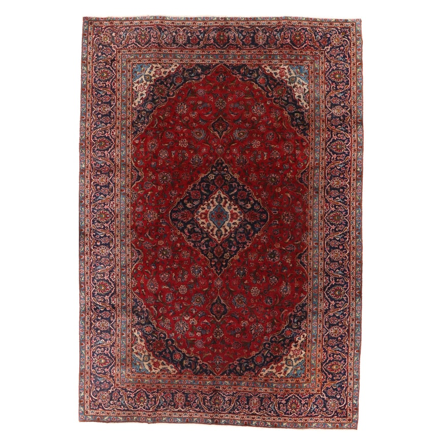 7'8 x 11'3 Hand-Knotted Persian Kashan Area Rug, 1970s