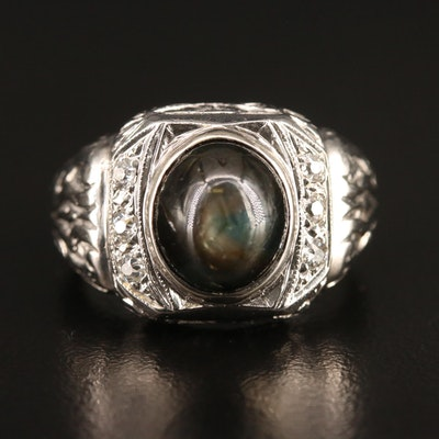 Platinum 8.50 CT Black Star Sapphire and Diamond Ring
