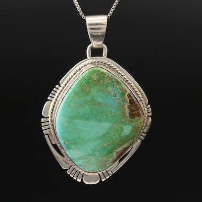 Pete Sanchez Isleta Sterling Silver Turquoise Necklace