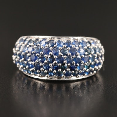 Sterling Silver Pavé Sapphire Dome Ring