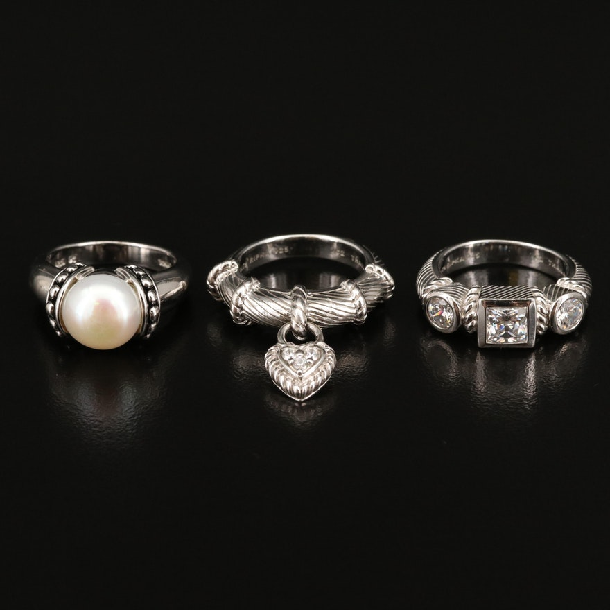 Sterling, Cubic Zirconia and Pearl Rings Featuring Judith Ripka