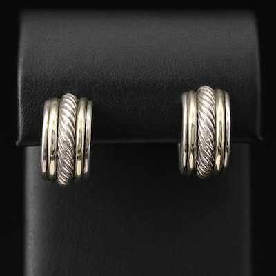 David Yurman Sterling Silver Hoop Earrings with 14K Accents