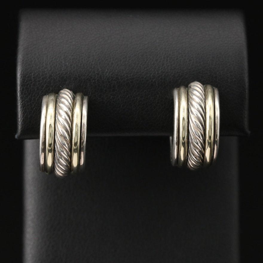 David Yurman Sterling Silver Hoop Earrings with 14K Accents