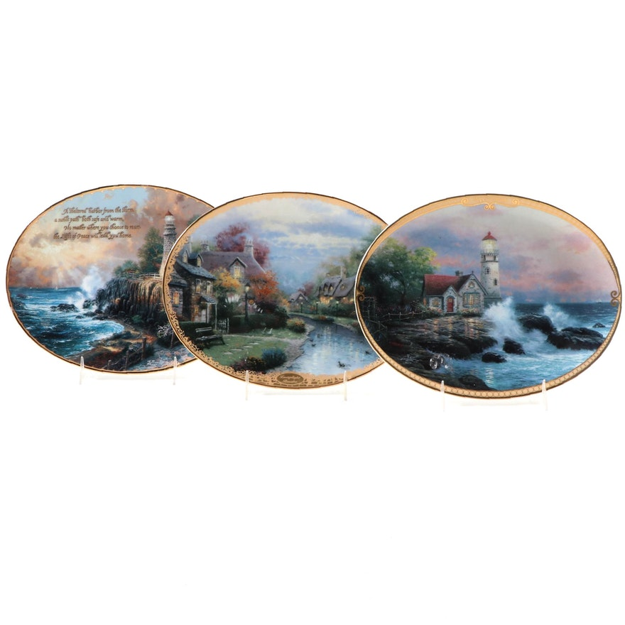 "Three Bradford Exchange ""Thomas Kinkade's Guiding Light"" Porcelain Plates"