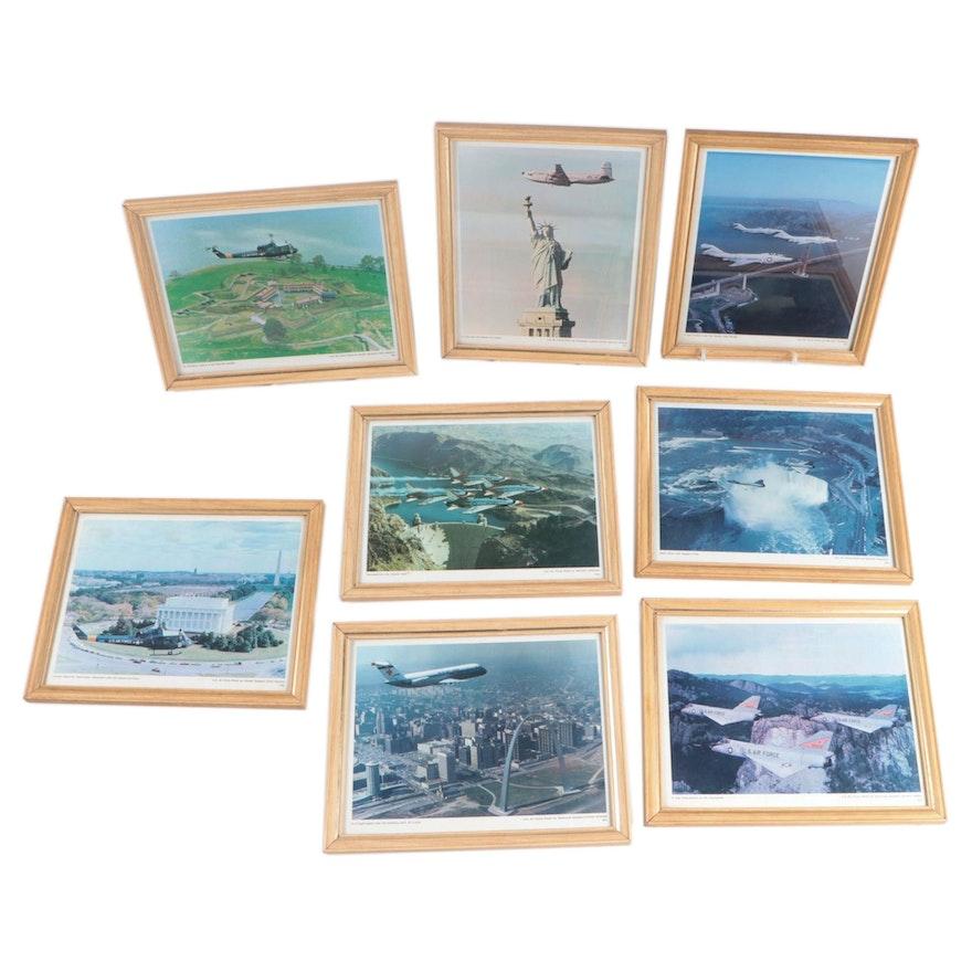 Framed Offset Lithographs Featuring U.S. Air Force Aircraft over U.S. Landmarks