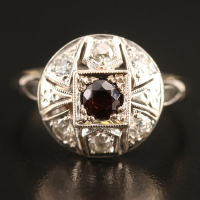 Edwardian 14K Garnet and Diamond Openwork Ring