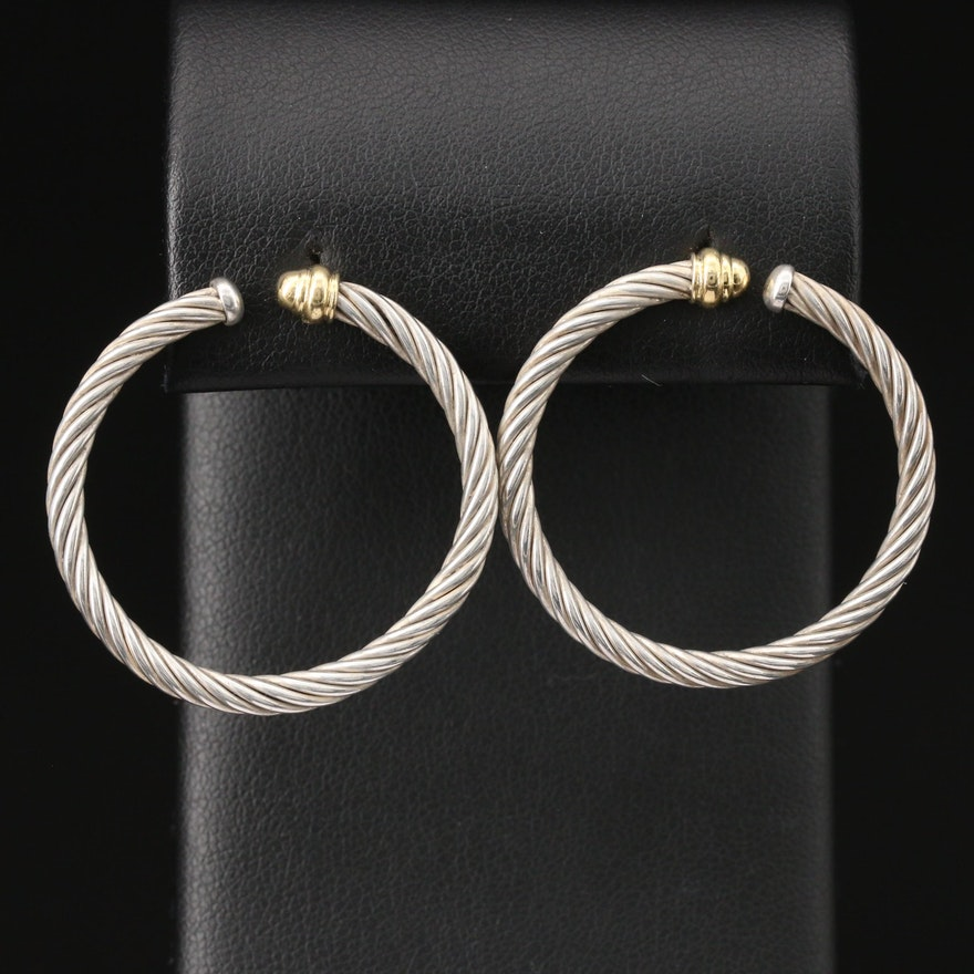 David Yurman Sterling Silver Front Facing Hoop Earrings with 18K Accents