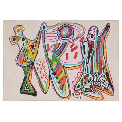 Chuck Barr Abstract Marker Drawing, 1995
