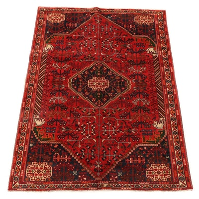 6'6 x 9'5 Hand-Knotted Persian Qasqai Wool Area Rug