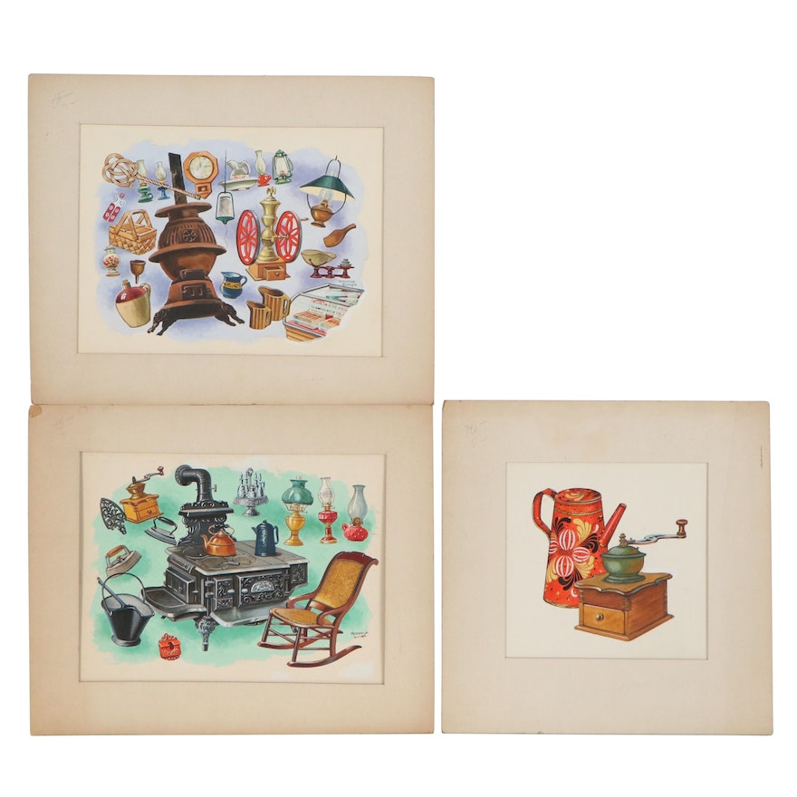 Frederick Elmiger Ink and Gouache Illustrations of Stoves and Household Items
