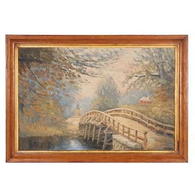 "Richard Packer Oil Painting ""Old North Bridge, Concord, Massachusetts,"" 1974"