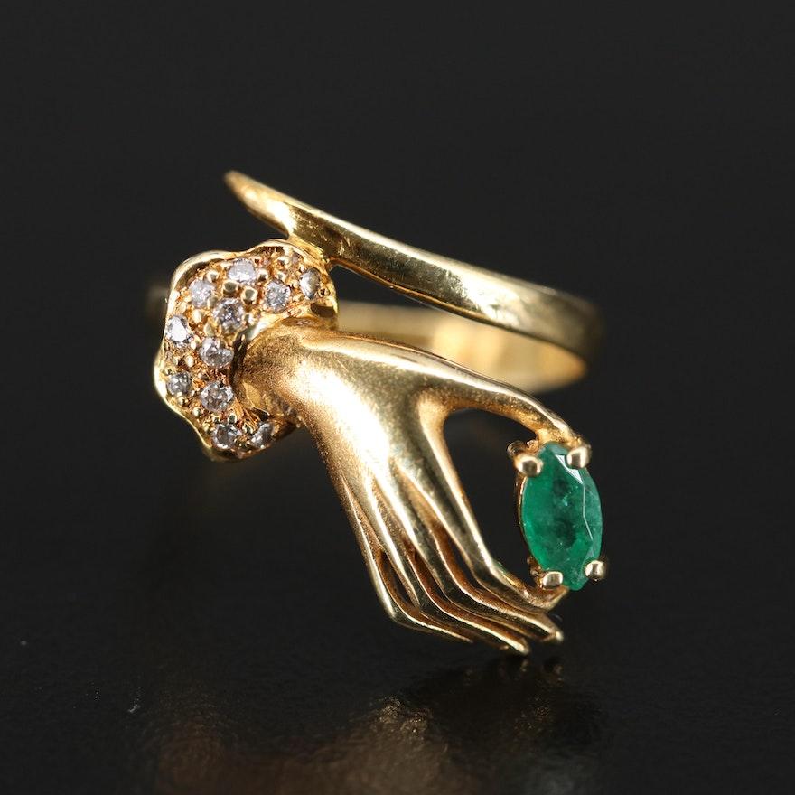 14K Emerald and Diamond Hand Ring