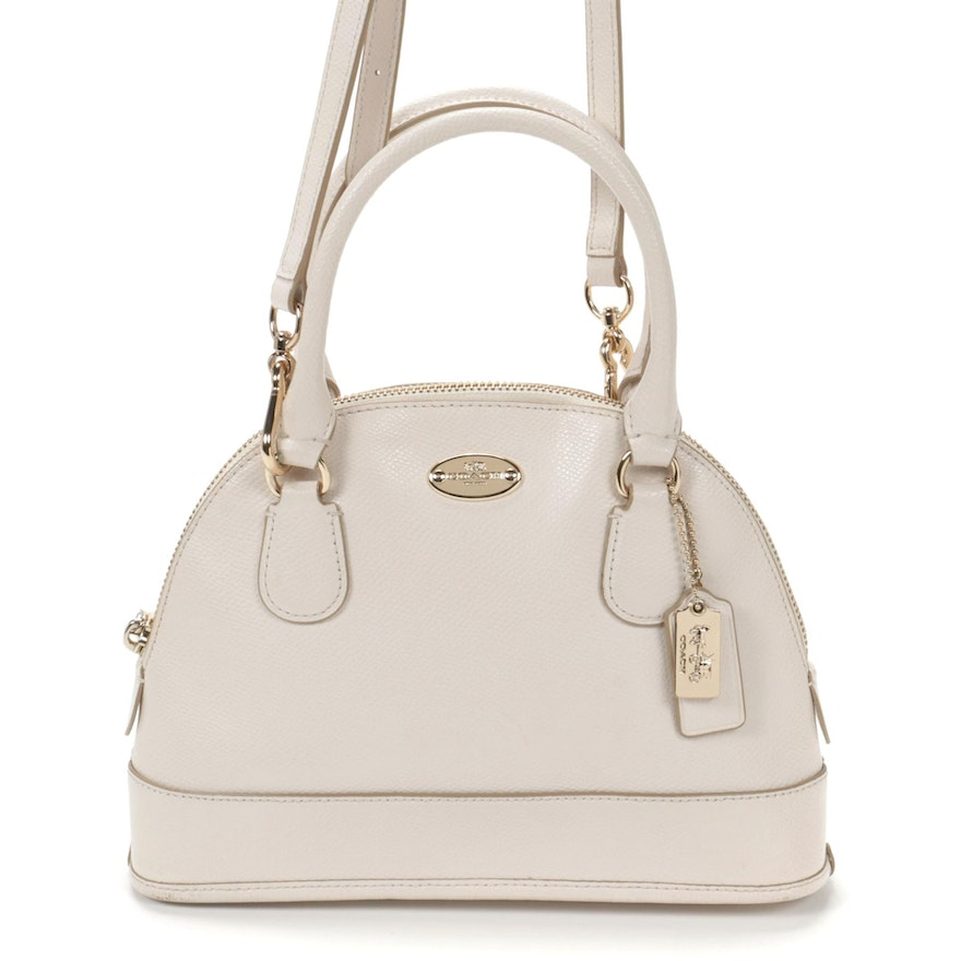 Coach Mini Cora Domed Two-Way Crossbody Handbag in Chalk Grained Leather
