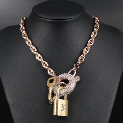 Louis Vuitton Lock on Rhinestone Accented Chain Necklace