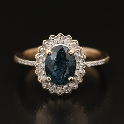 14K Oval Sapphire and Diamond Halo Ring