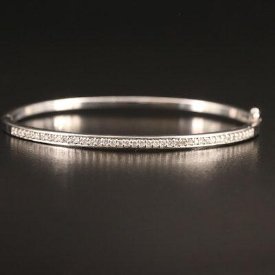 Sterling Silver Diamond Hinged Oval Bangle