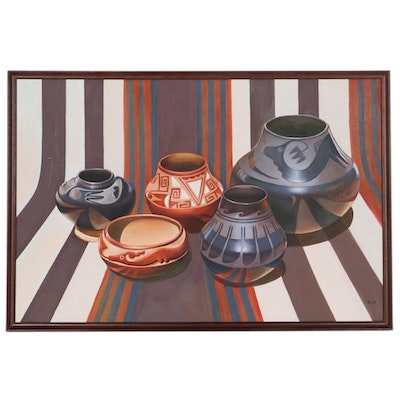Oil Painting of Southwestern Black and Redware Pottery, 21st Century