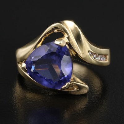 Contemporary 14K Purple Glass and Cubic Zirconia Ring